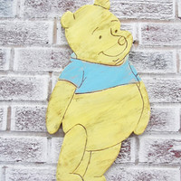 Winnie the Pooh Nursery Art - LARGE cut out wall art Pooh shaped sign - your choice of shirt color