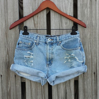 High Waisted Denim Shorts - High Waist Jean Shorts - Size US 2/3