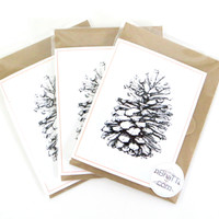Pinecone Card screen printed