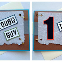 One Tough Guy / Gal - Handmade Race Bib Encouragement, Congratuations, Inspiration Greeting Card for Running, Tough Mudder, Triathlon