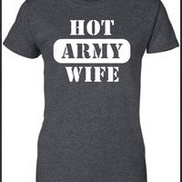 Hot Army Wife Military Navy Airforce Marines soldier semper fi T-Shirt Tee Shirt Mens Ladies Womens sexy gift Funny mad labs pants ML-321