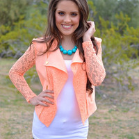 Closet Candy Boutique · Just In Case Lace Jacket - Peach