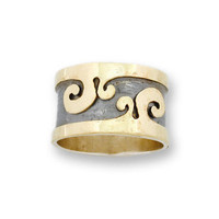 Hadas1951 Hand Crafted Art Fab Gold Silver Ring ir120 by Hadas1951