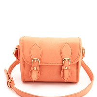 DOUBLE BUCKLE FAUX LEATHER CROSSBODY BAG