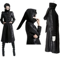 Black Gothic Vampire Hooded Trench Coat