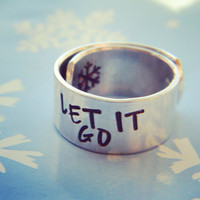 Let it go aluminum 3/8 inch wide wrapped ring snowflake inside