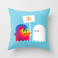 Hippie ghost Throw Pillow by Budi Satria Kwan