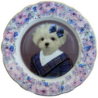 Maggie Maltese, School Portrait Plate - Altered Painted Plate 7.75""