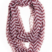 Cotton Cantina Soft Chevron Sheer Infinity Scarf in Contrasting Colors (Burgundy/White)