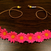 Neon Pink Small Daisy Flower Headband, Flower Crown, Flower Halo, Festival Wear, Coachella, Ezoo, Rave, Bridal, EDC