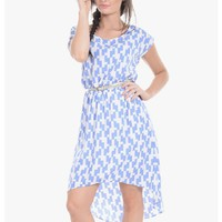 Blue Geo Mix High Low Dress | $10.00 | Cheap Trendy Casual Dresses Chic Discount Fashion for Women