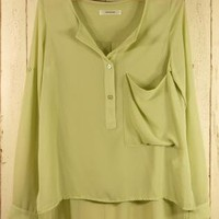 Green Three-Quarter/Long Sleeve Top - Pastel Green Asymmetric Top with | UsTrendy