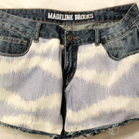 Light Blue Ikat Diamond Jean Shorts by madelinebrooks on Etsy
