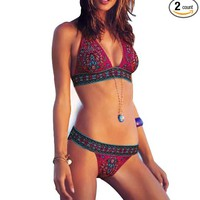 Ethnic Printing Bikini Halter Triangle Top Hipster Pant Bottom Bathing Suit