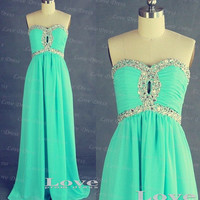 Custom Made A-line Chiffon Long Prom Dresses, Cheap Prom Dresses 2014, Dress For Prom, Formal Dresses