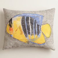 Blue Angel Fish Outdoor Lumbar Pillow - World Market