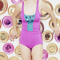 POPSICLE - purple and blue color block swimsuit - Ready to Ship