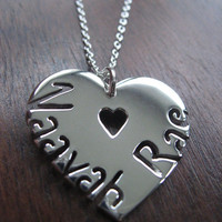 Heart with two names Silver Pendant Necklace by GorjessJewellery