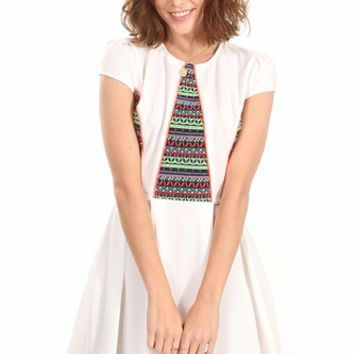 Trifecta White Tribal Dress