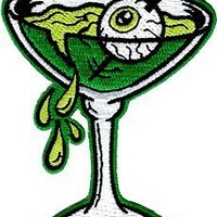 Atomic Eyetini - Green Sourpuss - Embroidered Sew or Iron on Patch