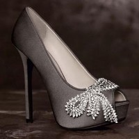 Peep-Toe Platform Pumps with Crystal Bows - David's Bridal
