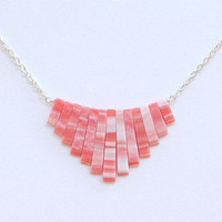 Coral and White Necklace on by robbinstown