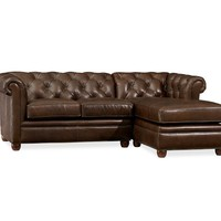 CHESTERFIELD LEATHER 2-PIECE SECTIONAL WITH CHAISE