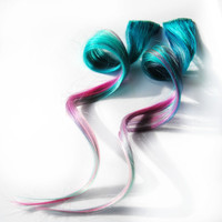 Human hair extension, hair extension, purple, pink, teal, blue clip in, hair, tie dye colored hair - Peaceful sea