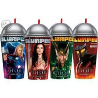 "Marvel Thor 3d Jumbo 7"" Slurpee Collectors Plastic Cups Set of 4 / Includes: Thor , Loki , Sif & Destroyer"