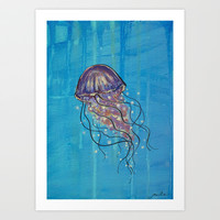 Float like a Jellyfish Art Print by Jellywell Art