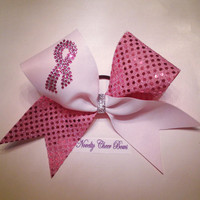 Breast Cancer Tic Toc White and Pink Confetti Mesh Cheer Bow