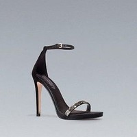 NEW With Tags Zara Swarovski High Heel Sandals Size 8 (39) Black Suede.SOLD OUT!
