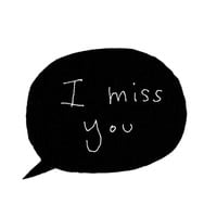 I Miss You Greeting Card, Cute Greeting Card, Blank Card, Line Art, Black, White, Minimal, Modern, Poosac, Speech Bubble