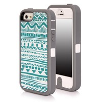 SGM Apple iPhone 5S / iPhone 5 (16GB, 32GB, 64GB, Unlocked T-Mobile, AT&T, Verizon, Sprint 4G LTE)) Multiple layer protection High Impact Hybrid Armor Case (Gray + White (Tribal), iPhone 5S / 5)