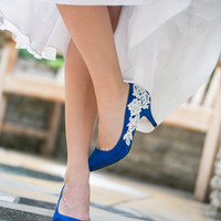 Wedding Shoes - Cobalt Blue Wedding Heels, Bridal Shoes with Ivory Lace. US Size 6