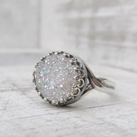 Silver Druzy Ring, White Crystal Druzy Ring, Sterling Silver Druzy Ring, Druzy Jewelry