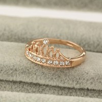 Magic Collection 18k Yellow/White Gold Plated Crown Cubic Zirconia Filigree Ring
