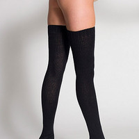 Polyester Solid Thigh-High Socks | American Apparel