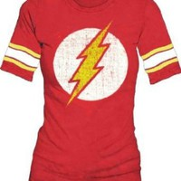 The Flash Logo DC Comics Vintage Style Distressed Soft Juniors T-Shirt Tee