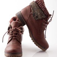 Ice Breaker Faux Leather Lace Up Sweater Cuff Boots - Brown