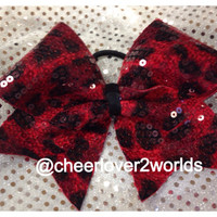 Red Cheetah Sequin Cheer Bow
