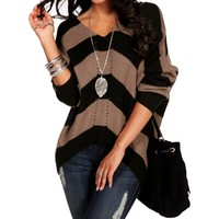 SALE-MochaBlack V-Neck Striped Sweater
