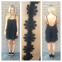 Black Daisy Strap Low Back Dress