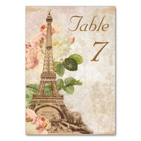 Paris Pink Rose Vintage Romantic Table Card