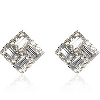 White rhinestone square stud earrings - earrings - jewelry - women