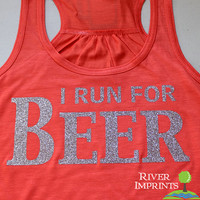 BEER Flowy Tank, 2-sided Sparkle Workout / Runner Racerback Tank