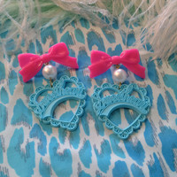 Teal and Hot Pink Sweetheart Earrings