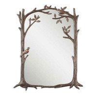 Uttermost Perching Birds Small Mirror in Antiqued Silver Leaf