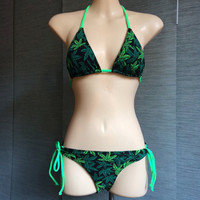Weed Print Triangle Bikini SMALL TOP only