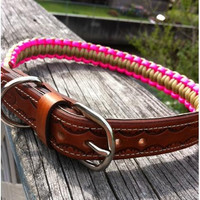 Leather and Paracord adjustable dog collar